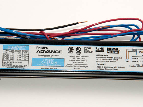 15364 philips advance electronic ballast 120v to 277v for (2) f32t8  at readyjetset.co
