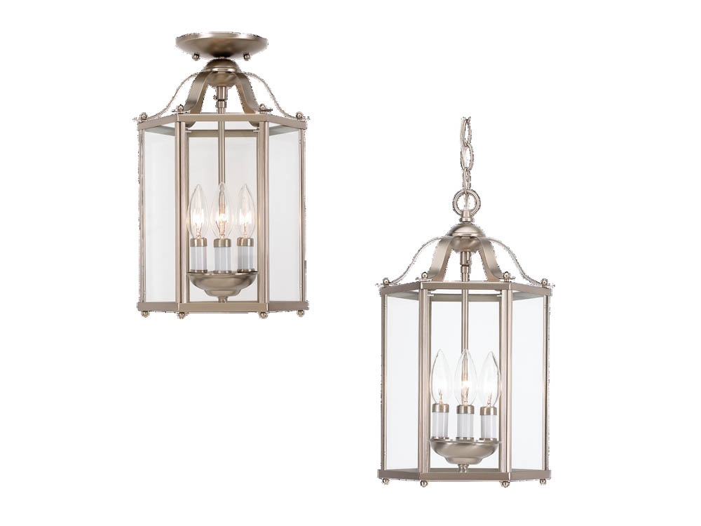 Progress Lighting Lucky Collection 4 Light Brushed Nickel: Close-to-Ceiling, Three-Light Hall/Foyer Fixture, Bretton