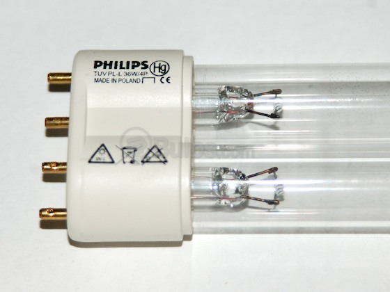 Philips Lighting 265850 TUV PL-L 36W/4P (Germicidal) Philips 36W TUV 4 Pin 2G11 Germicidal Long Single Twin Tube CFL Bulb