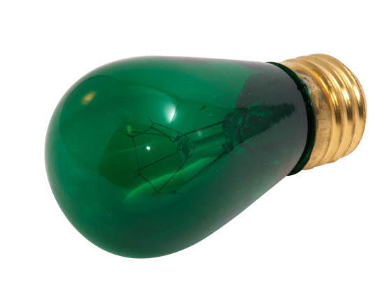 Bulbrite B701411 11S14/TG (Trans. Green) 11W 130V S14 Transparent Green Sign or Indicator Bulb, E26 Base