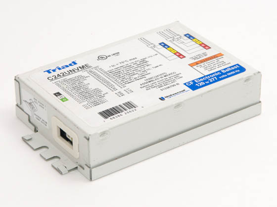 Universal C242UNVMES000I C242UNVMES000I (w/ STUDS) Electronic Ballast 120V to 277V for (1) 36W to 70W or (2) 22W to 42W 4 Pin CFL or Circline