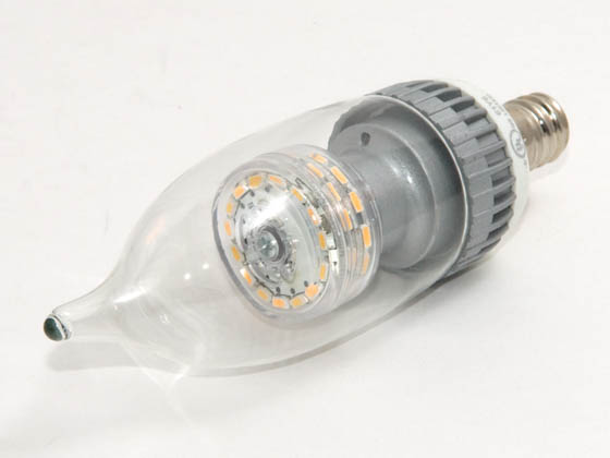 TCP LDCF3WH30K 15W Incandescent Equivalent, 25000 Hour, 3 Watt, 120 Volt Soft White DIMMABLE Flame Tip LED Decorative Bulb.