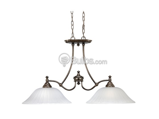 Progress Lighting P4113-77 Two-Light Linear Chandelier Fixture, Renovations Collection, Forged Bronze