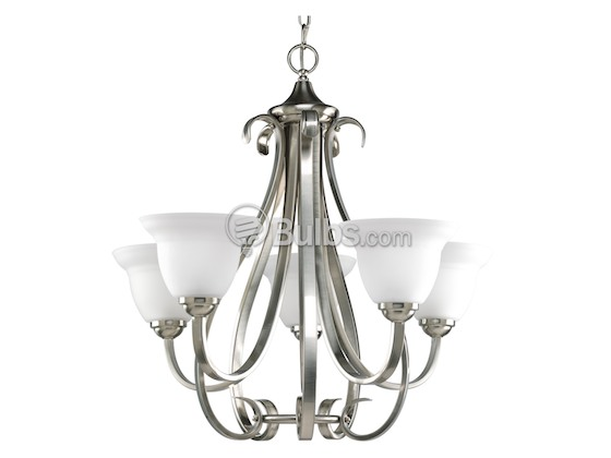 Progress Lighting Lucky Collection 4 Light Brushed Nickel: Five-Light Chandelier Fixture, Torino Collection, Brushed