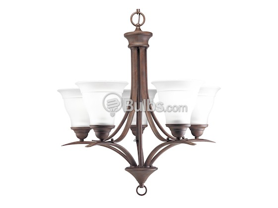 Progress Lighting P4328-33 Five-Light Chandelier Fixture, Trinity Collection, Cobblestone Finish