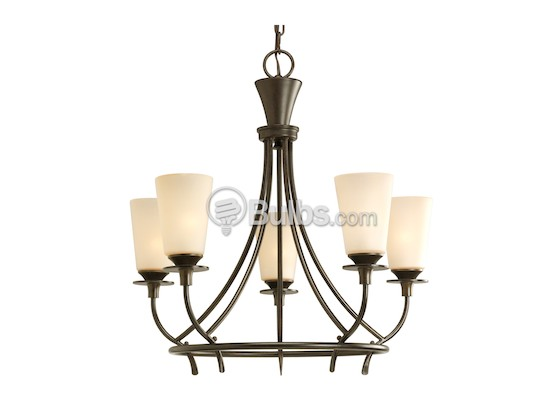 Progress Lighting P4006-77 Five-Light Chandelier Fixture, Cantana Collection, Forged Bronze