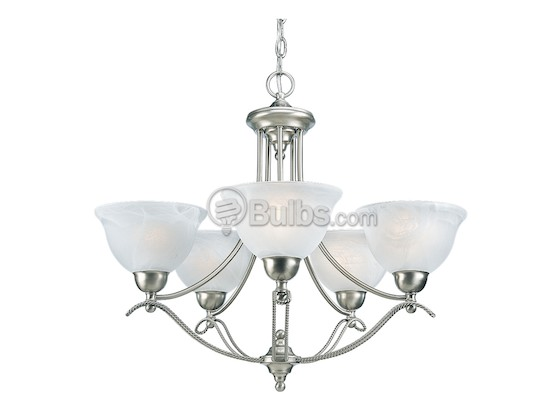 Progress Lighting P4068-09 Five-Light Chandelier Fixture, Avalon Collection, Brushed Nickel