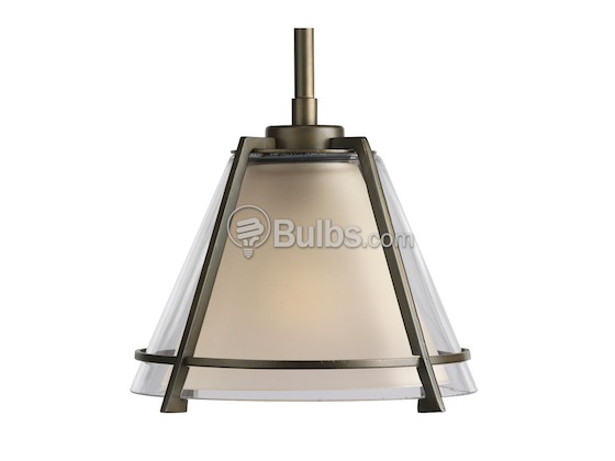 Progress Lighting P5177-108 Mini-Pendant Fixture, Umber and Clear Glass, Oil Rubbed Bronze Finish