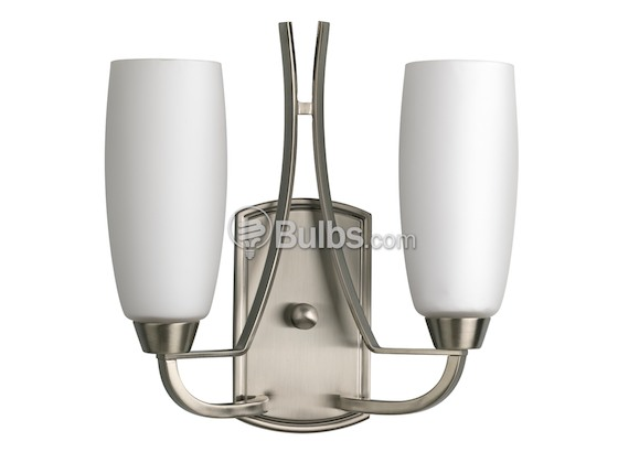 Progress Lighting P7127-09 Two-Light Wall Sconce Light Fixture, Westin Collection, Brushed Nickel