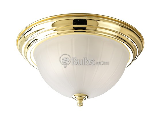Progress Lighting P3818-10 Close-to-Ceiling, Three-Light Fixture, Melon Etched Glass, Polished Brass