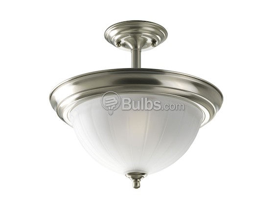 Progress Lighting P3876-09 Close-to-Ceiling, Two-Light Semi-Flush Fixture, Melon Etched Glass, Brushed Nickel