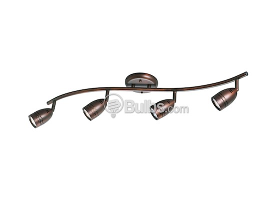 Progress Lighting P6163-174WB Four-Light Wavy Wall or Ceiling Mount Light Fixture With Multi-Directional Heads, Urban Bronze