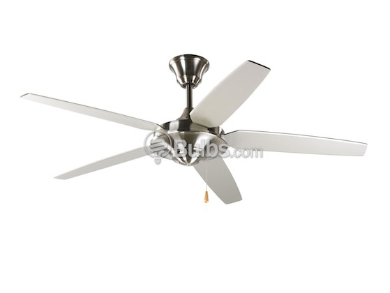 "Progress Lighting P2530-09 54"" Signature Plus Ceiling Fan, Brushed Nickel with Reversible Silver/Natural Cherry Blades"