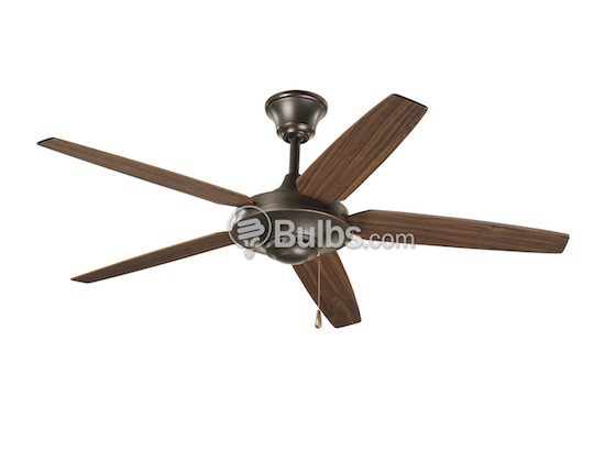 "Progress Lighting P2530-20 54"" Signature Plus Ceiling Fan, Brushed Nickel with Reversible Silver/Natural Cherry Blades"