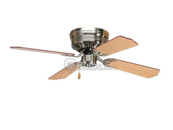 "Progress Lighting P2524-09 42"" Hugger Fan, Brushed Nickel with Reversible Cherry/Natural Cherry Blades"