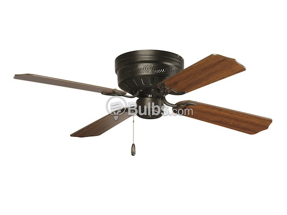 "Progress Lighting P2524-20 42"" Hugger Fan, Antique Bronze with Reversible Medium Cherry/Classic Walnut Blades"