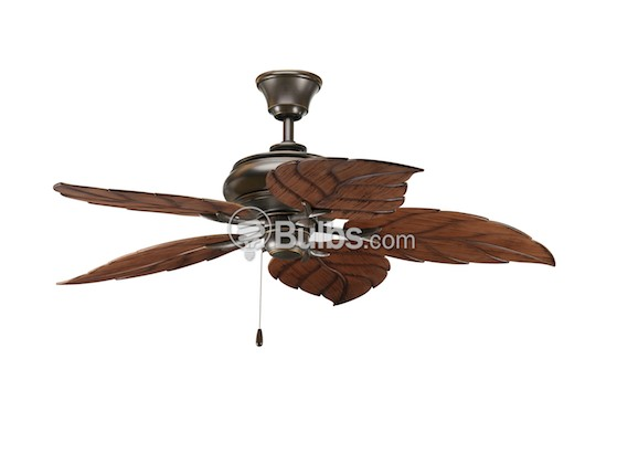 "Progress Lighting P2526-20 52"" Patio Fan, Antique Bronze with Washed Walnut Finish Blades"