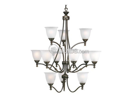 Progress Lighting P4510-77 Twelve-Light Chandelier Fixture, Renovations Collection, Forged Bronze Finish
