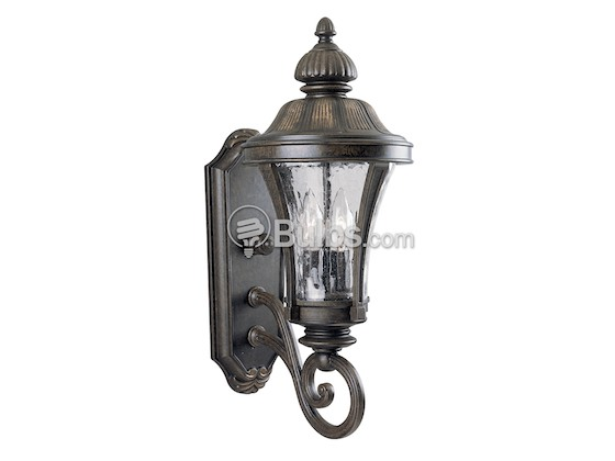 Progress Lighting P5835-77 Two-Light Outdoor Wall Lantern, Nottingham Collection, Forged Bronze Finish