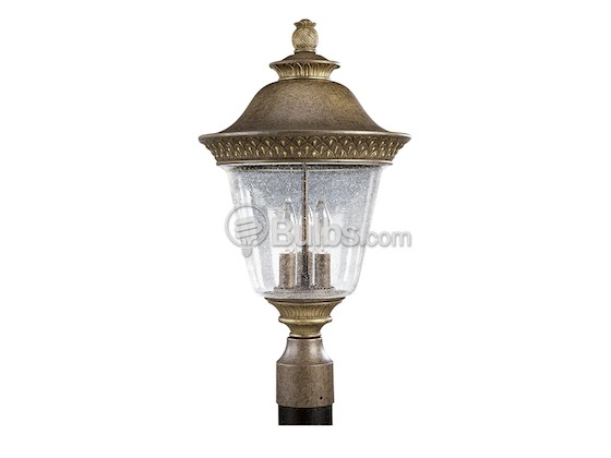 Progress Lighting P5416-86 Three-Light Outdoor Post Lantern, Savannah Collection, Burnished Chestnut Finish