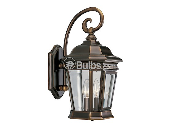 Progress Lighting P5671-108 Two-Light Outdoor Wall Lantern, Crawford Collection, Oil Rubbed Bronze Finish