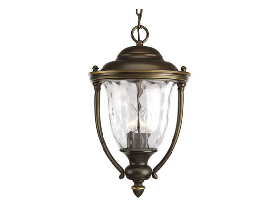 Progress Lighting P5584-108 Three-Light Outdoor Hanging Lantern Fixture, Prestwick Collection, Oil Rubbed Bronze Finish