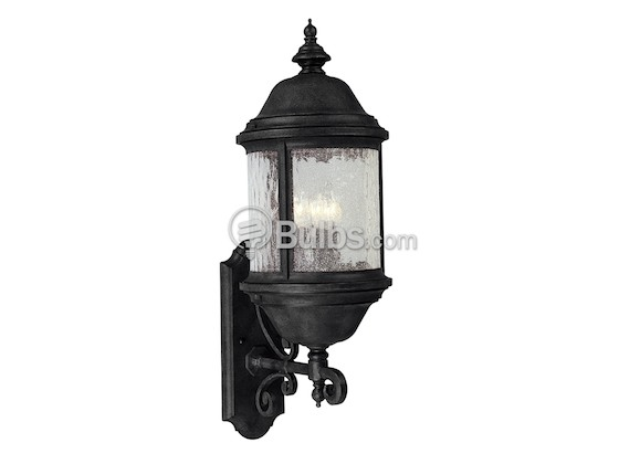 Progress Lighting P5653-31 Three-Light Outdoor Wall Lantern, Ashmore Collection, Textured Black