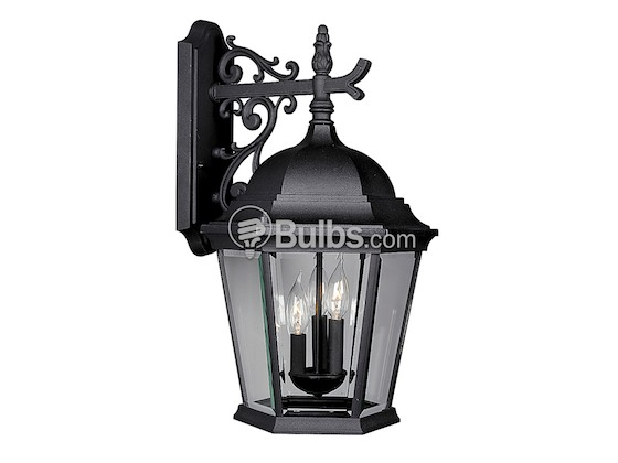 Progress Lighting P5690-31 Three-Light Outdoor Wall Lantern, Welbourne Collection, Textured Black