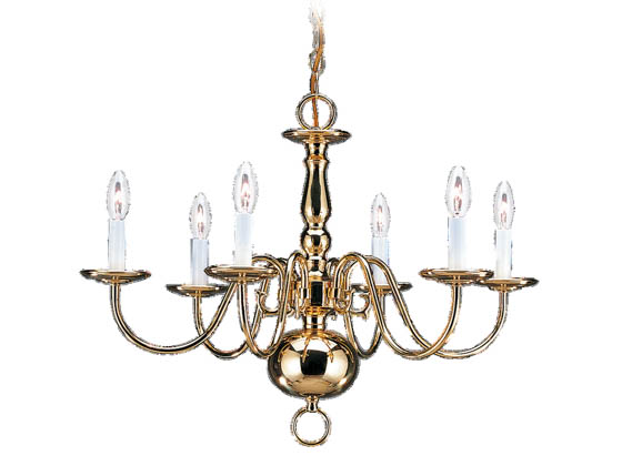 Sea Gull Lighting 3411-02 Six-Light Chandelier Fixture, Traditional Collection, Polished Brass