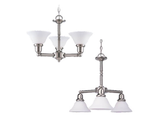Sea Gull Lighting 31060-962 Three-Light Chandelier Fixture, Sussex Collection, Brushed Nickel