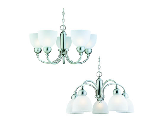 Sea Gull Lighting 31036-962 Five-Light Chandelier Fixture, Metropolis Collection,  Brushed Nickel