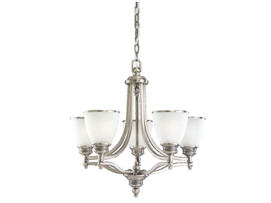 Sea Gull Lighting 31350-965 Five-Light Chandelier Fixture, Laurel Leaf Collection, Antique Brushed Nickel