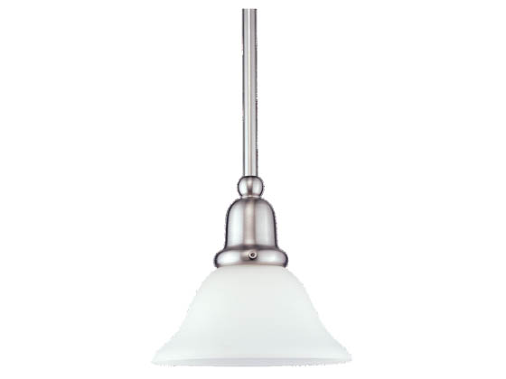 Sea Gull Lighting 61060-962 Single-Light Mini-Pendant Fixture, Sussex Collection, Brushed Nickel