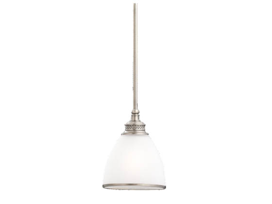 Sea Gull Lighting 61350-965 Single-Light Mini-Pendant Fixture, Laurel Leaf Collection, Antique Brushed Nickel