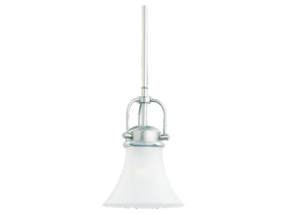 Sea Gull Lighting 61283-965 Single-Light Mini-Pendant Fixture, Newport Collection, Antique Brushed Nickel