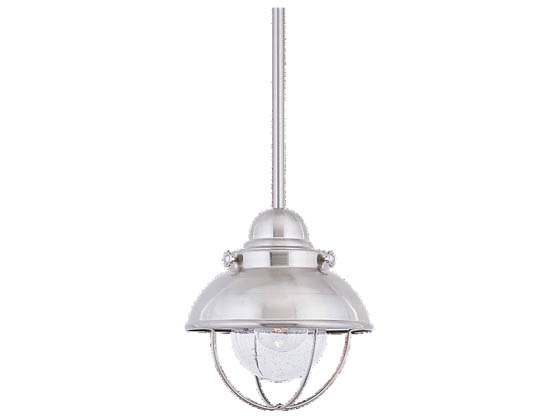 Sea Gull Lighting 6150-98 Single-Light Mini-Pendant Fixture, Sebring Collection, Brushed Stainless