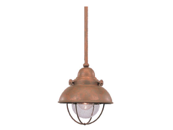 Sea Gull Lighting 6150-44 Single-Light Mini-Pendant Fixture, Sebring Collection, Weathered Copper