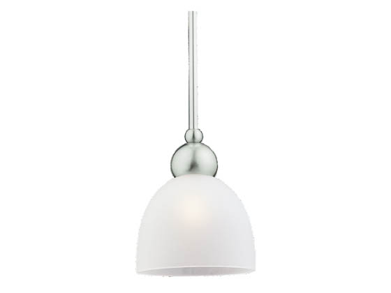 Sea Gull Lighting 69034BLE-962 Single-Light Mini-Pendant Fixture, Metropolis Collection, Brushed Nickel