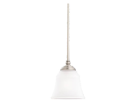 Sea Gull Lighting 69380BLE-965 Single-Light Mini-Pendant Fixture, Parkview Collection, Brushed Nickel