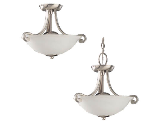 Sea Gull Lighting 51190-962 Close-to-Ceiling, Two-Light Semi-Flush Fixture, Serenity Collection, Brushed Nickel