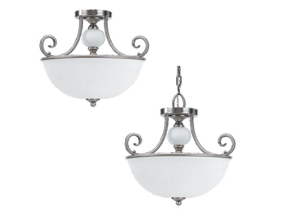 Sea Gull Lighting 51105-965 Close-to-Ceiling, Three-Light Semi-Flush Fixture, Montclaire Collection, Antique Brushed Nickel