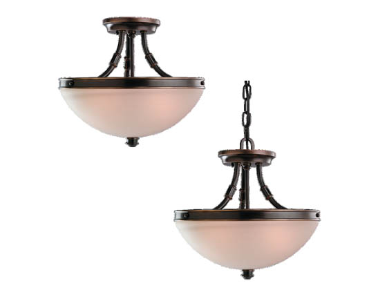 Sea Gull Lighting 77330-825 Close-to-Ceiling, Two-Light Semi-Flush Fixture, Warwick Collection, Vintage Bronze