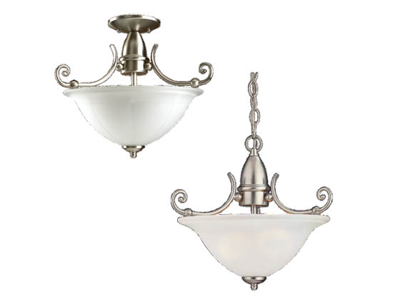 Sea Gull Lighting 51050-962 Close-to-Ceiling, Two-Light Semi-Flush Fixture, Canterbury Collection, Brushed Nickel