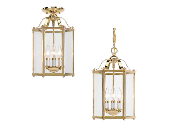 Sea Gull Lighting 5231-02 Close-to-Ceiling, Three-Light Hall/Foyer Fixture, Bretton Collection, Polished Brass