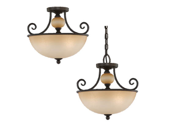 Sea Gull Lighting 51105-72 Close-to-Ceiling, Three-Light Semi-Flush Fixture, Montclaire Collection, Olde Iron Finish