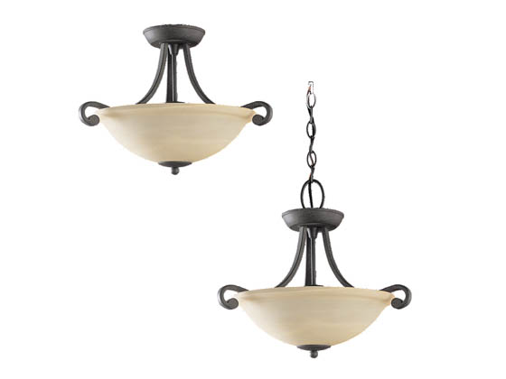 Sea Gull Lighting 59159BLE-07 Close-to-Ceiling, Three-Light Semi-Flush Fixture, Serenity Collection, Weathered Iron Nickel Finish