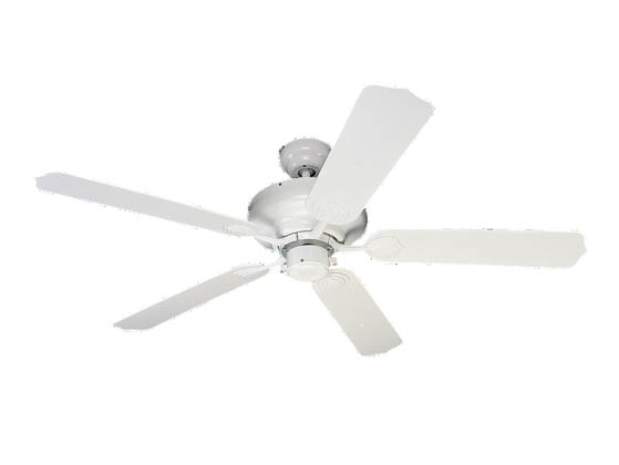 "Sea Gull Lighting 1540-15 52"" Ceiling Fan, White with White Blades, Long Beach Collection"
