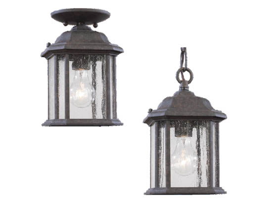 Sea Gull Lighting 60029-746 One-Light Outdoor Hanging Lantern Fixture, Kent  Collection, Oxford Bronze