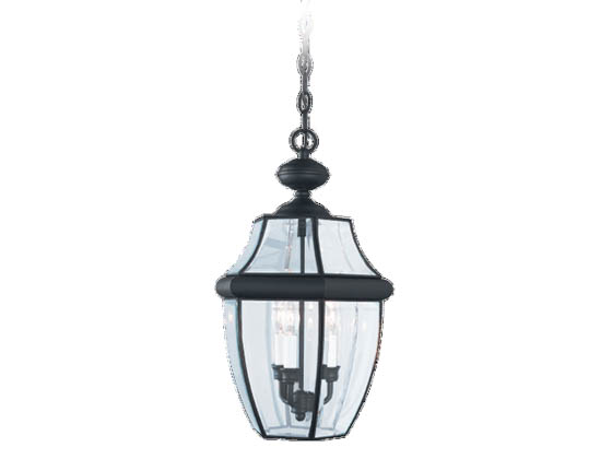 Sea Gull Lighting 6039-12 Three-Light Outdoor Hanging Lantern Fixture, Lancaster Collection, Solid Brass