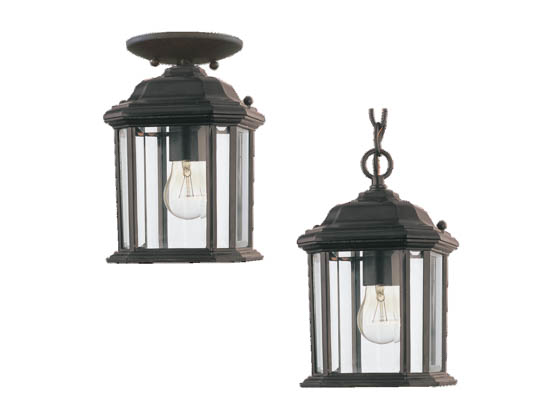 Sea Gull Lighting 60029-12 One-Light Outdoor Hanging Lantern Fixture, Kent  Collection, Black